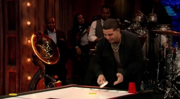 Jimmy Fallon vs Drake in Beer Hockey