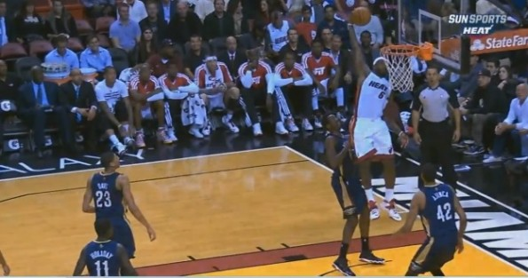 LeBron James one-handed alley-oop