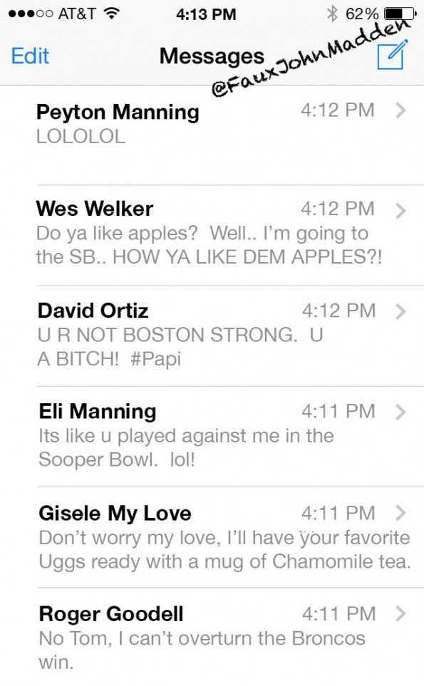 Tom Brady Text Inbox