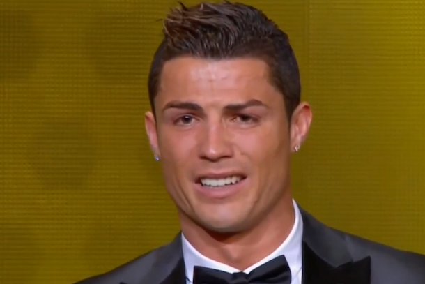 cristiano ronaldo crying ballon d'or 2014 acceptance speech