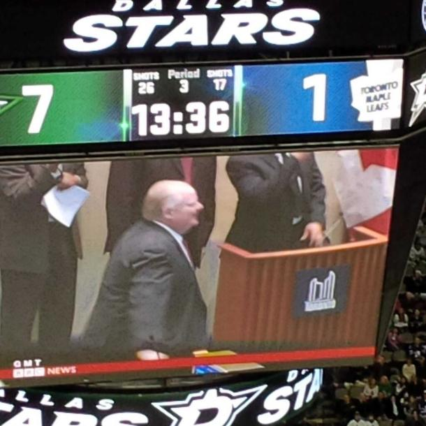 dallas stars rob ford jumbotron