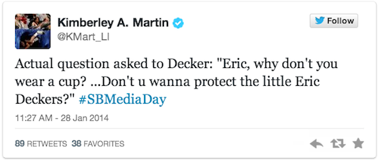 eric decker - stupidest questionssuper bowl xlviii media day
