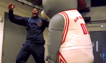Watch the Houston Rockets Mascot Scare the Sh!% Out of the Rockets Players (Video)