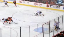 Predators Goalie Carter Hutton Makes Ridiculous Sliding Glove Save to Take Away a Sure Goal (Video)