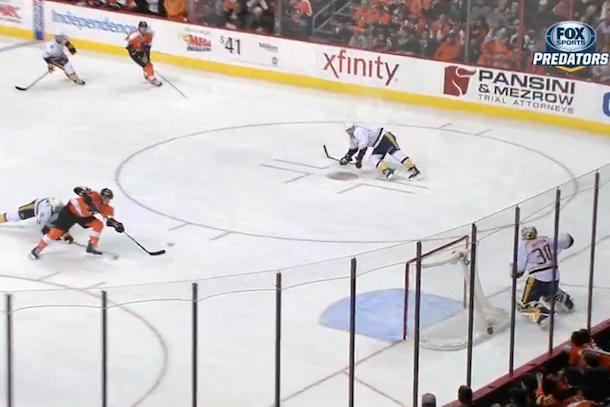 incredible hockey save (carter hutton robs michael raffl)