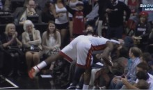 LeBron James Kisses a Female Fan Sitting Courtside (Video)