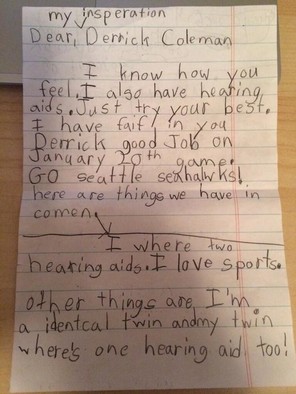 little girl letter to derrick coleman