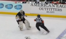 Marc-Andre Fleury and Peter Budaj Had an Entertaining Attempt at a Goalie Fight Last Night (Video)