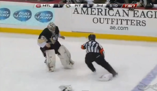 marc-andre fleury avoid referee