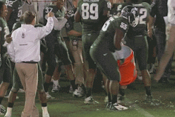 mark dantonio dodges gatorade shower