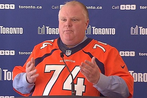 mayor rob ford wearing broncos jersey