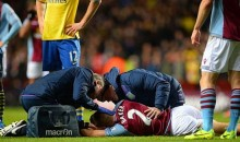 Aston Villa's Nathan Barker Gets Knocked Out Cold by Ball to the Face (GIF)
