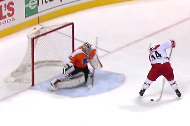 nathan gerbe between-the-legs goal (hertl)