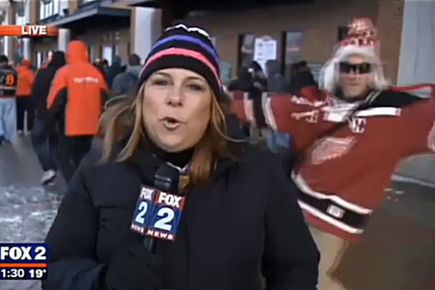 red wings fan videobomb fail
