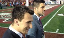 Tim Tebow and Johnny Manziel Were Hanging Out at the BCS National Championship Game (GIF)