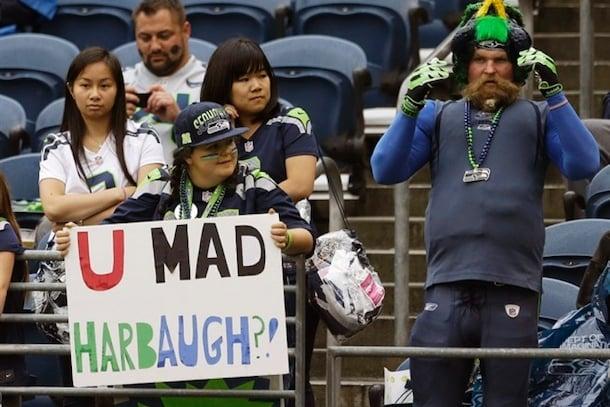 u mad harbaugh seahawks fans troll 49ers