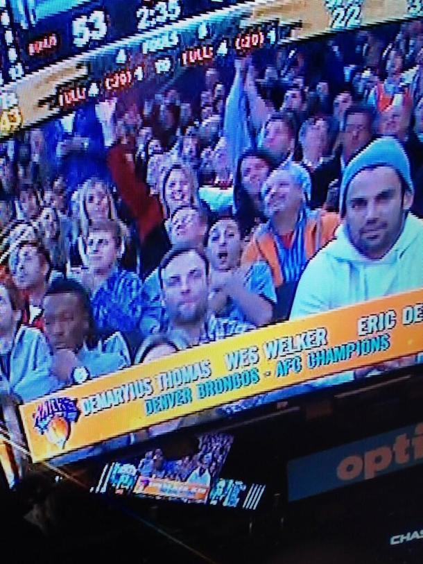 welker photobombed at knicks game