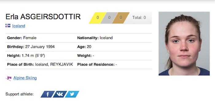 17 erla asgeirsdottir - funniest names 2014 winter olympics sochi