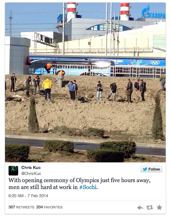 18 constructino five hours before opening ceremonies - sochiproblems