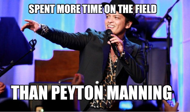 2 bruno-mars-spent-more-time-on-the-field-than-peyton-manning - broncos super bowl commercials