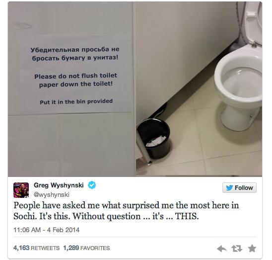 2 greg wyshynski toilet paper tweet - sochiproblems