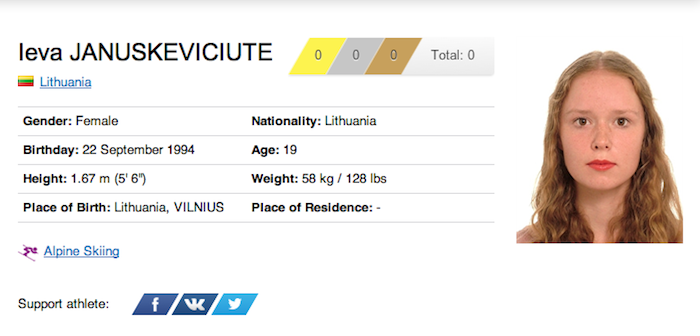 20 leva januskeviciute - funniest names 2014 winter olympics sochi