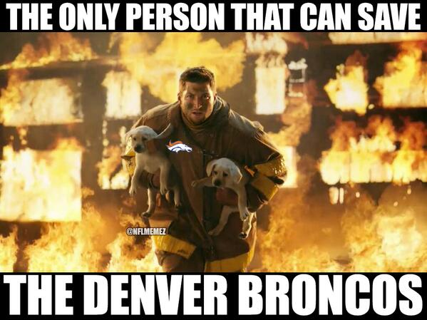 22 tebow only person who can save broncos - broncos super bowl commercials