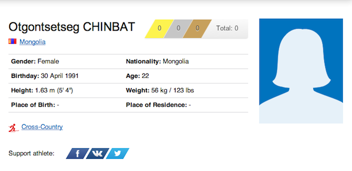9 otgontsetseg chinbat - funniest names 2014 winter olympics sochi
