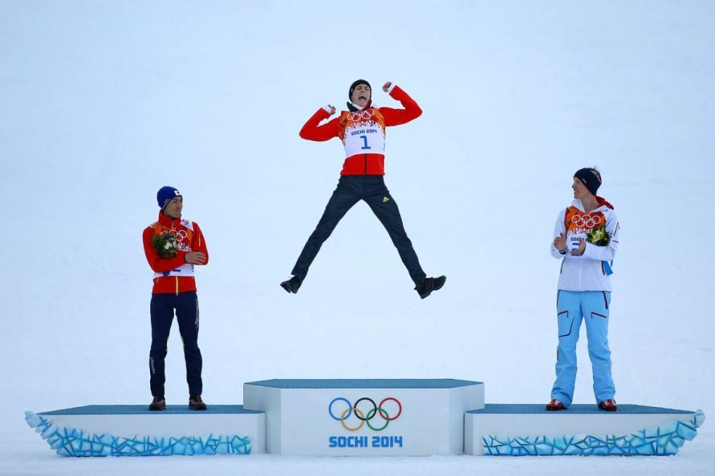 Eric Frenzel podium celebration Nordic Combined