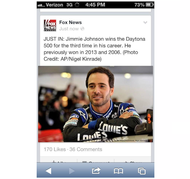Fox news daytona 500 fail tweet