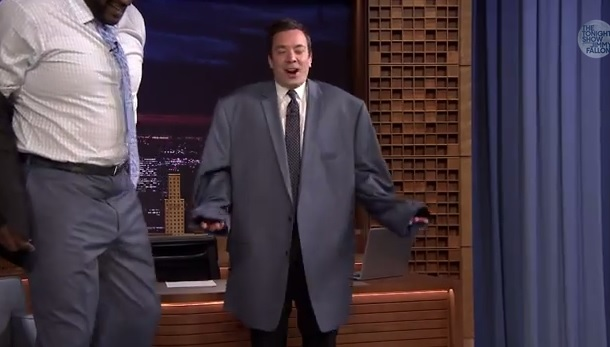 Jimmy Fallon in Shaq sports coat