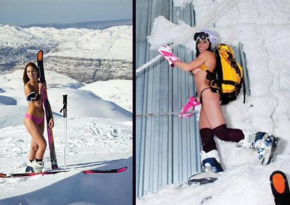 Nude lebanese skier, bottom of food pyramid