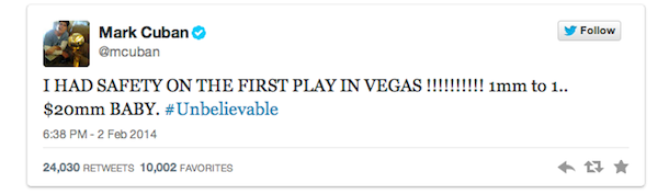 MARK CUBAN tweet super bowl xlviii safety