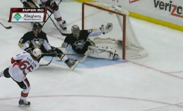Marc-Andre Fleury glove save on Erik Karlsson