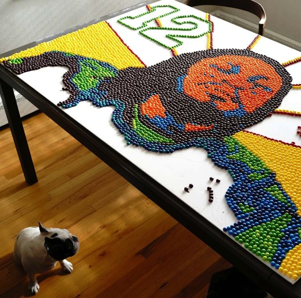 Marshawn Lynch Skittles portrait by Nick Harmer