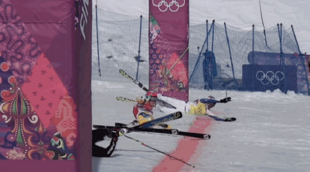 Men's ski-cross photo finish