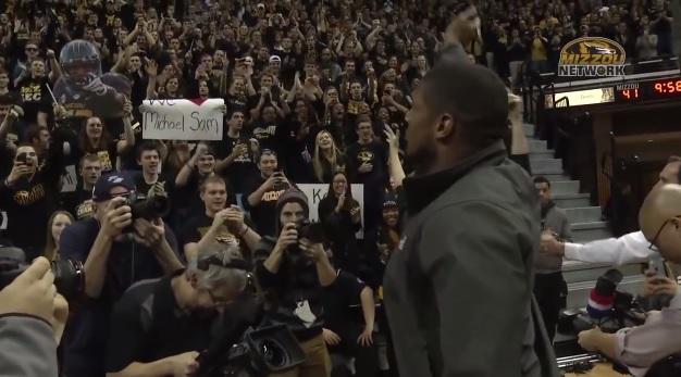 Michael Sam standing ovation Missouri basketball game