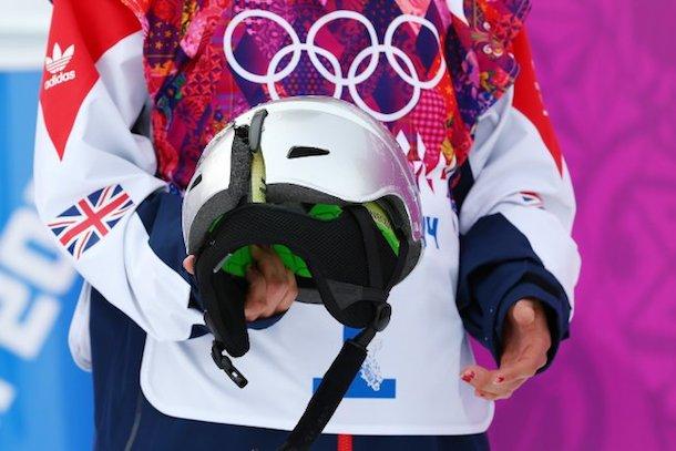 Sarka Pancochova olympic snowboarder cracks helmet