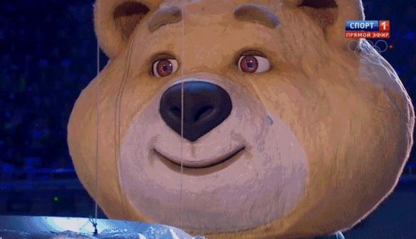 Sochi bear mascot cries