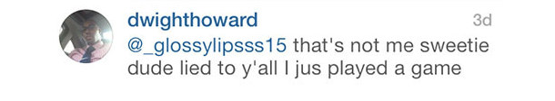 dwight howard instagram response