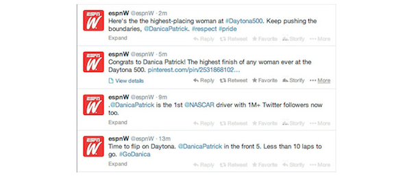 espnw daytona 500 tweet fail