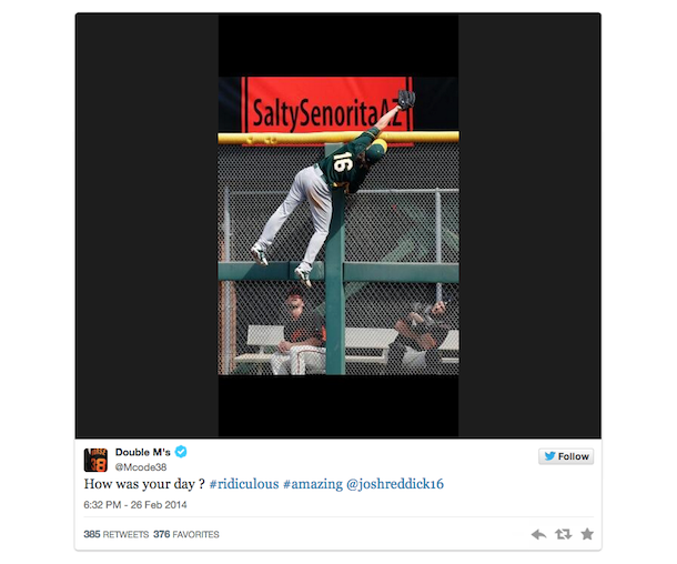 josh reddick catch - morse tweet