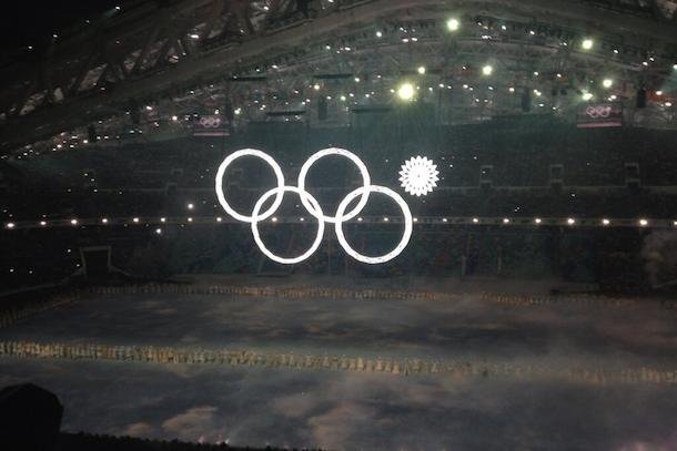 olympics opening ceremony ring fail