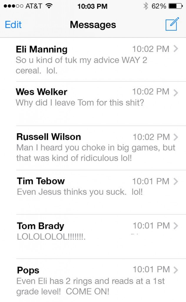 peyton manning faux text message inbox