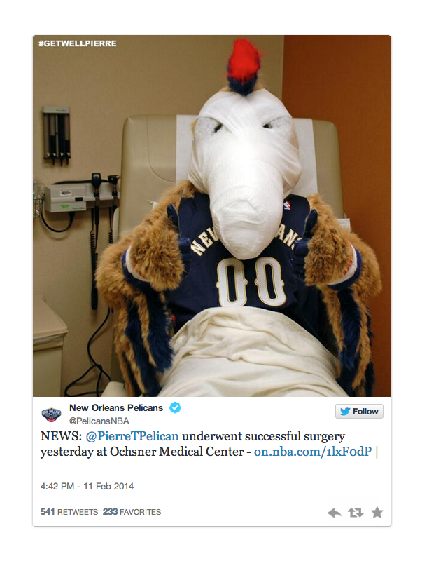 pierre pelicans mascot in hospital