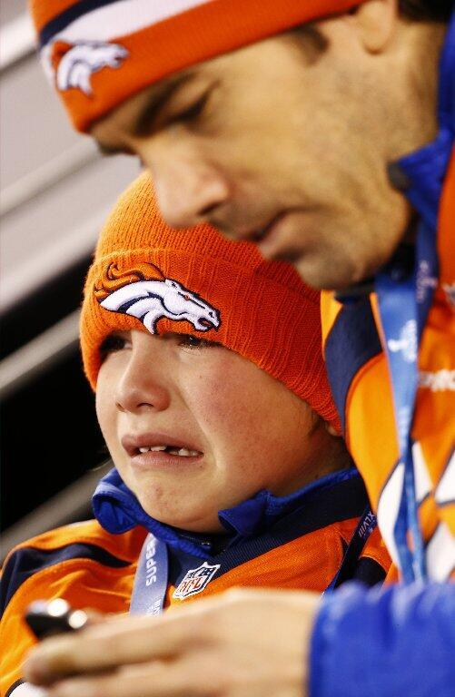 sad broncos fan Super Bowl XLVIII