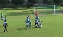 Amateur Soccer Player Sucker-Punches Opponent and Kicks Him While He's Down (Video)