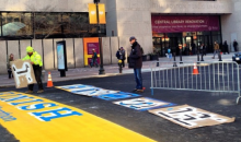 118th Boston Marathon Finish Line Painted on Boylston Street (Video)