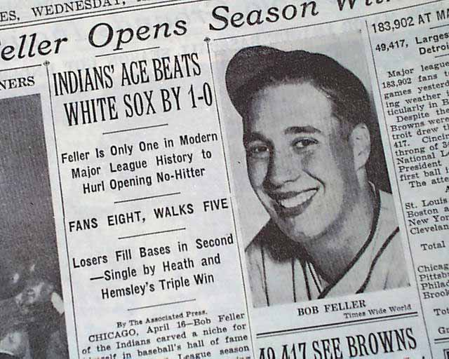 2 bob feller opening day no-hitter - MLB opening day memorable moments