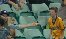 Kid Goes Nuts For Baseball During Dodgers Game in Australia (GIF)